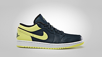 Air Jordan 1 Low Squadron Blue Electric Yellow Night Stadium White