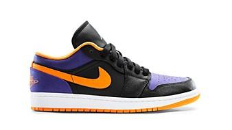 air jordan 1 low Black Bright Citrus Court Purple White
