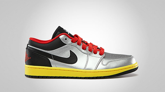 Air Jordan 1 Low Metallic Silver Black Challenge Red Tour Yellow