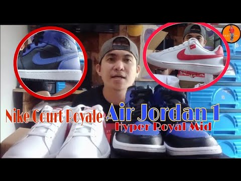 unboxing Air Jordan 1 Hyper Royal Mid and Nike Court Royale