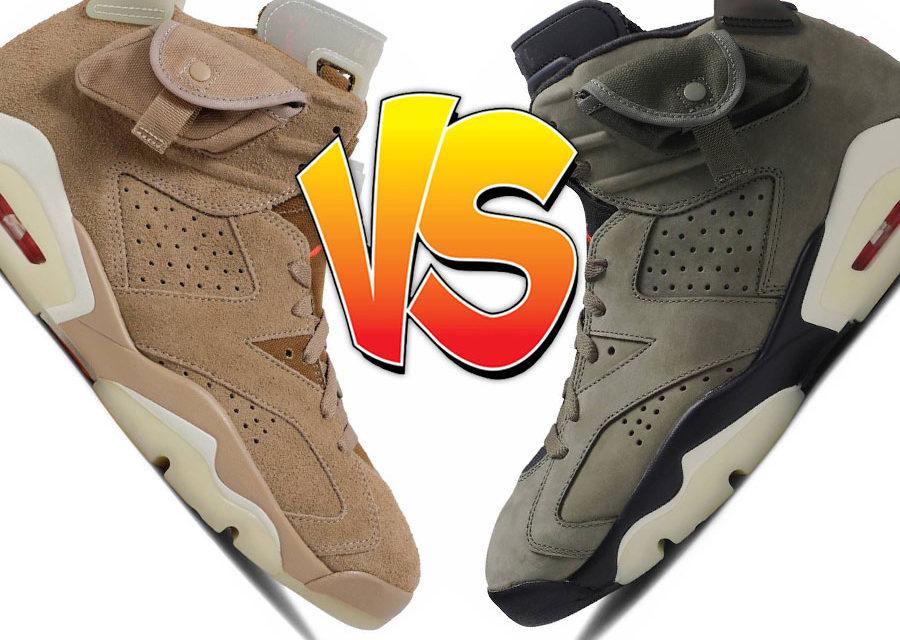Travis Scott Air Jordan 6 Olive vs Air Jordan 6 British