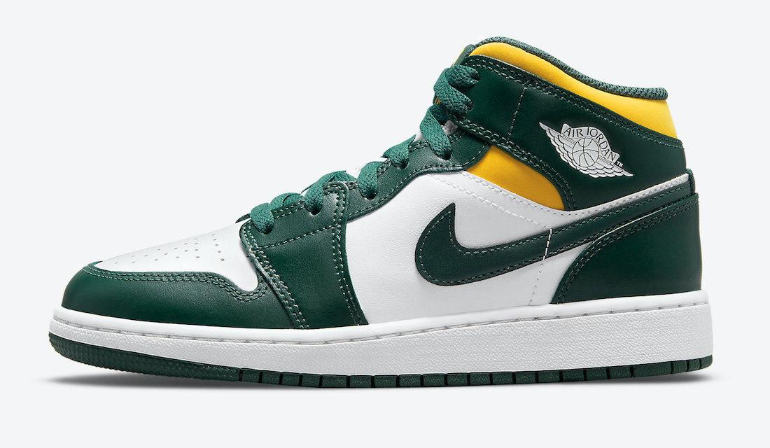 Air Jordan 1 Mid Green Yellow 554725-371 Release Date