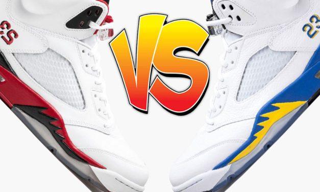 Air Jordan 5 Fire Red vs Air Jordan 5 Laney Comparison